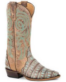 Roper Women's Copper Caiman Western Boots - Snip Toe, Blue, hi-res