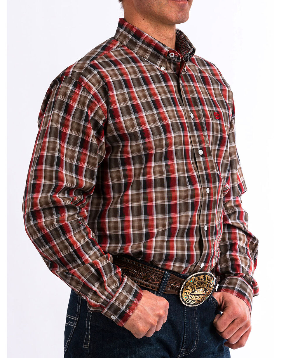Cinch Men's Red & Brown Plaid Long Sleeve Button Down Shirt, Wine, hi-res