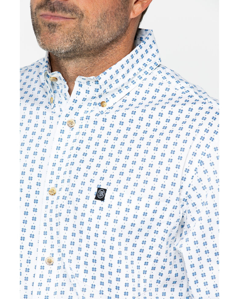 Wrangler Men's White Stretch Geo Print Long Sleeve Western Shirt , White, hi-res