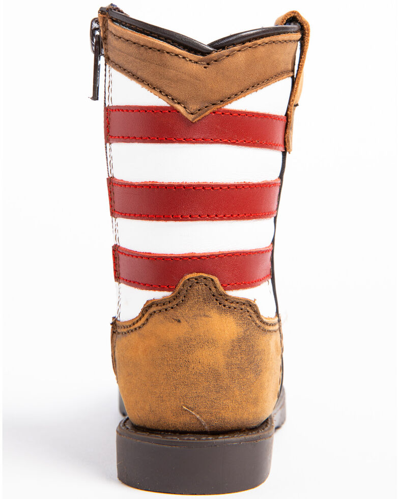 Cody James Toddler Boys' USA Flag Western Boots - Wide Square Toe, Brown, hi-res