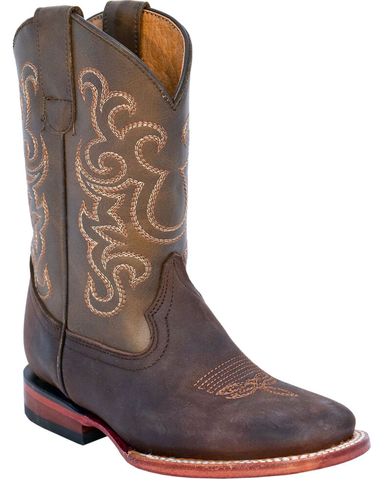 Ferrini Boys' Maverick Western Boots - Square Toe, Chocolate, hi-res