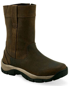 Old West Men's Side Zipper Western Work Boots - Soft Toe, Brown, hi-res