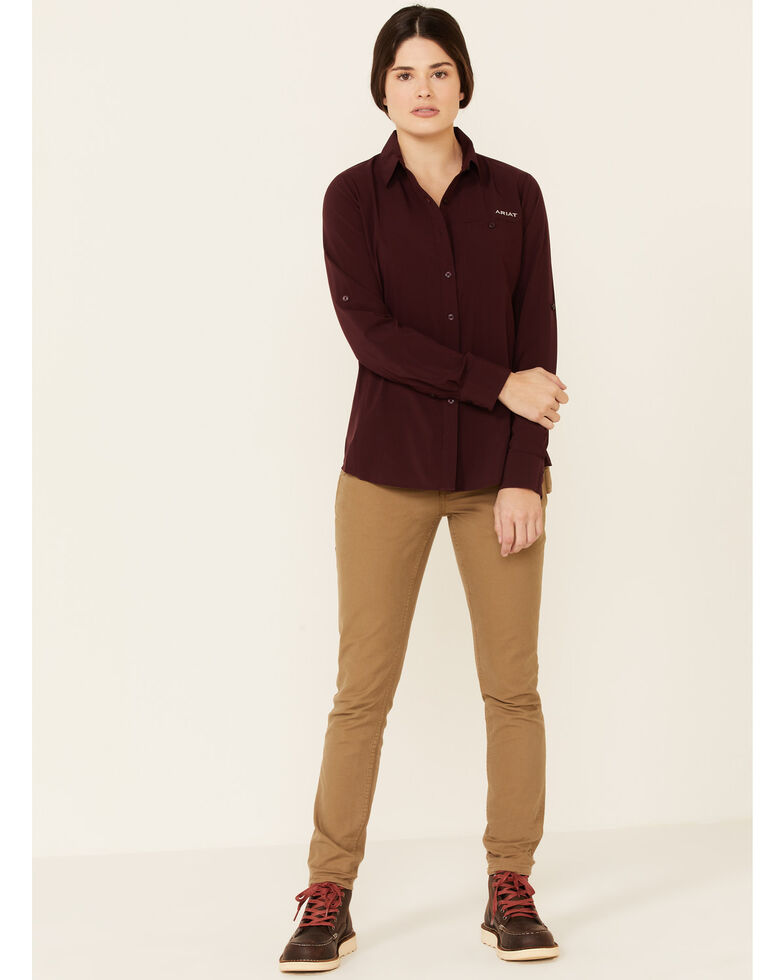 Ariat Women's Solid Wine Vent Tek II Stretch Long Sleeve Button-Down Western Core Shirt , Wine, hi-res