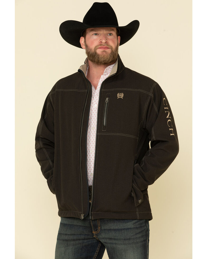 Cinch Men's Black Logo Textured Bonded Concealed Carry Jacket , Black, hi-res