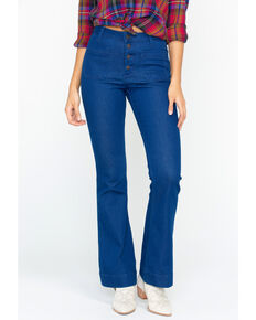 Wrangler Women's Women's Exaggerated Boot Cut Button Fly Jeans, Blue, hi-res