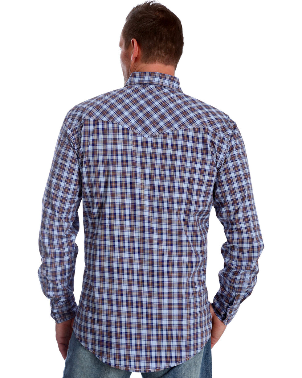 Wrangler 20X Men's Blue Plaid Advanced Comfort Competition Long Sleeve Western Shirt , Blue, hi-res