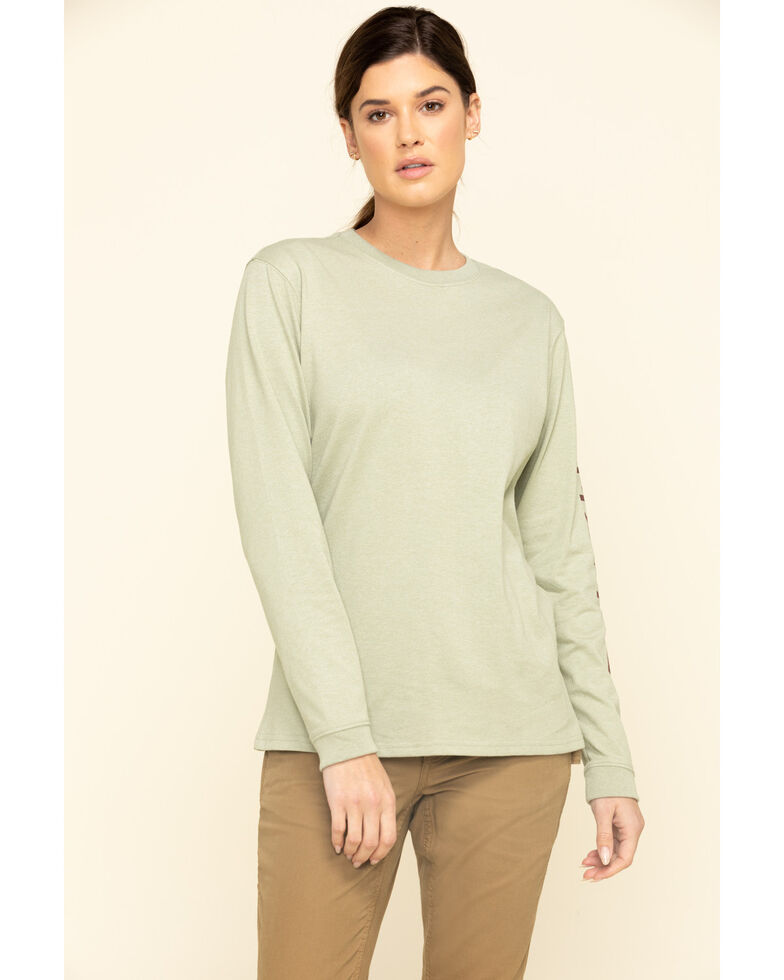 Carhartt Women's Sage Logo Long Sleeve Work T-Shirt, Sage, hi-res