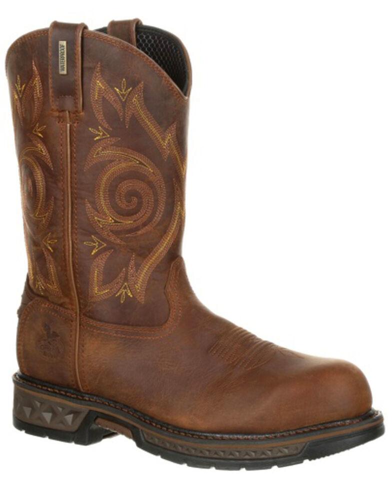 Georgia Boot Men's Carbo-Tec LT Waterproof Work Boots - Composite Toe, Brown, hi-res