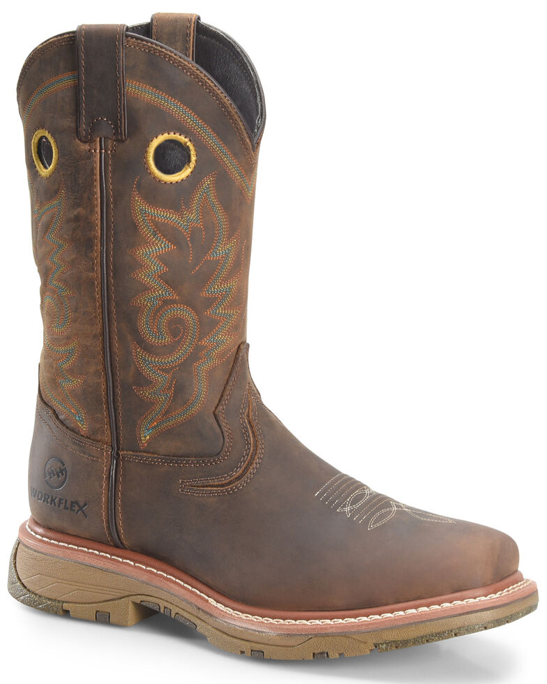 Double H Men's Brown Workflex Waterproof Western Work Boots - Composite Toe, Brown, hi-res