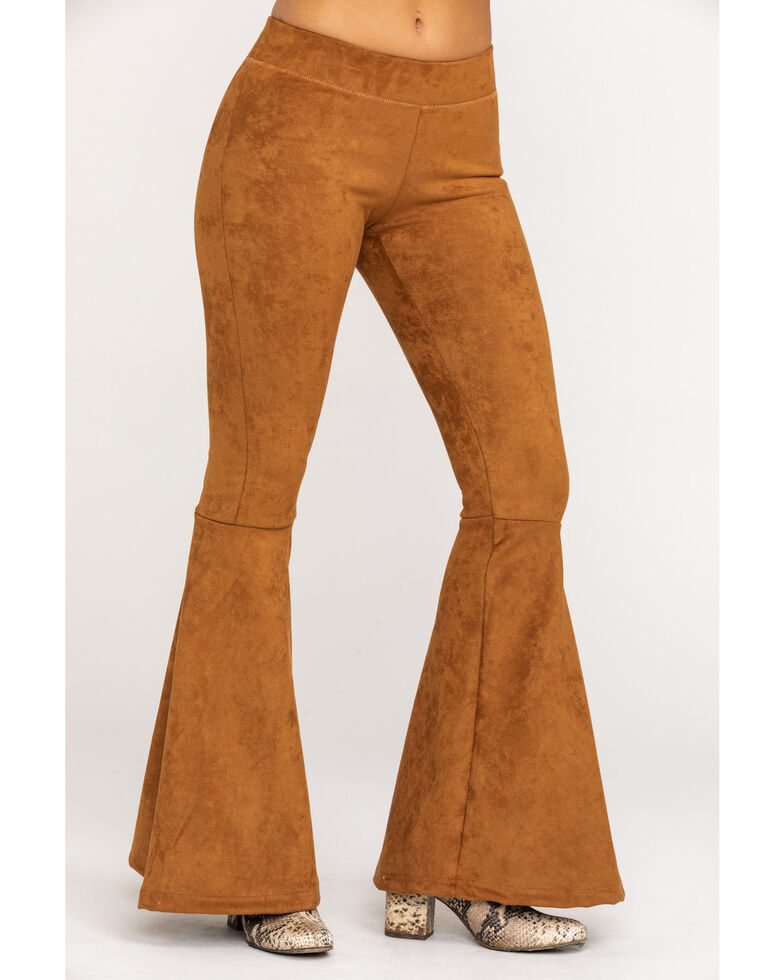 Rock & Roll Cowgirl Women's Brown Bell Bottoms , Tan, hi-res