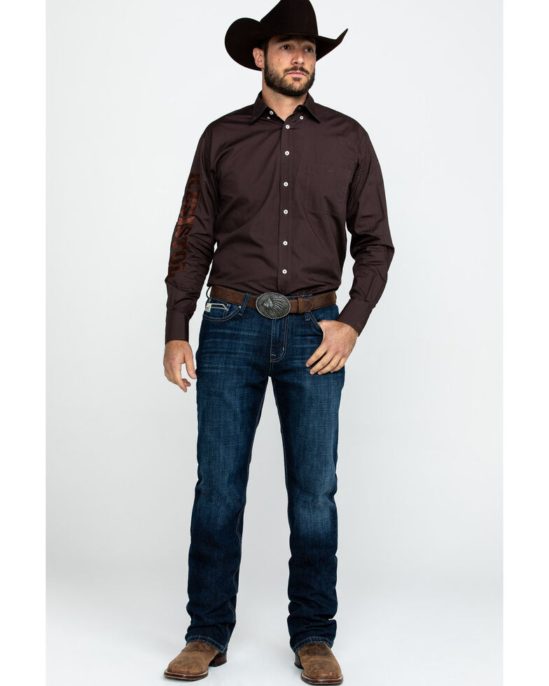 Resistol Men's Brickyard Solid Logo Long Sleeve Western Shirt , , hi-res