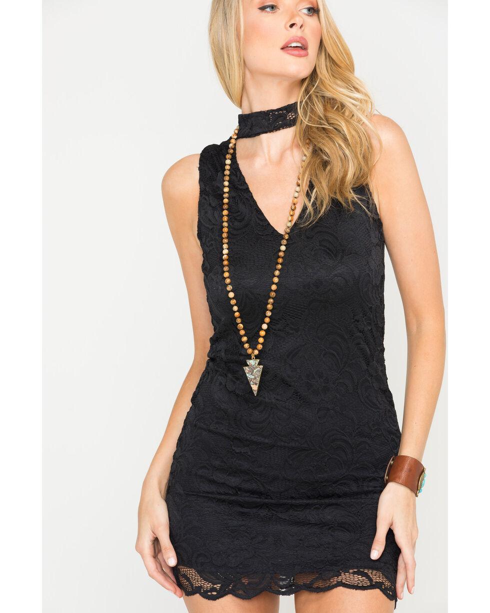 Panhandle Women's Black Sleeveless Lace Choker Dress, Black, hi-res