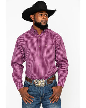 Ariat Men's Aberson Plaid Long Sleeve Western Shirt, Purple, hi-res
