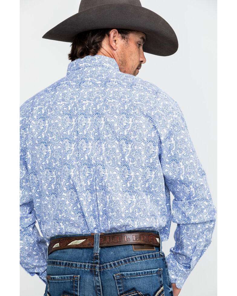 George Strait by Wrangler Men's White Paisley Print Long Sleeve Western Shirt , White, hi-res