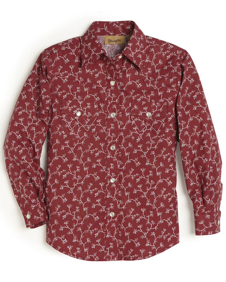 Wrangler Girls' Red Vine Snap Long Sleeve Western Shirt, Red, hi-res