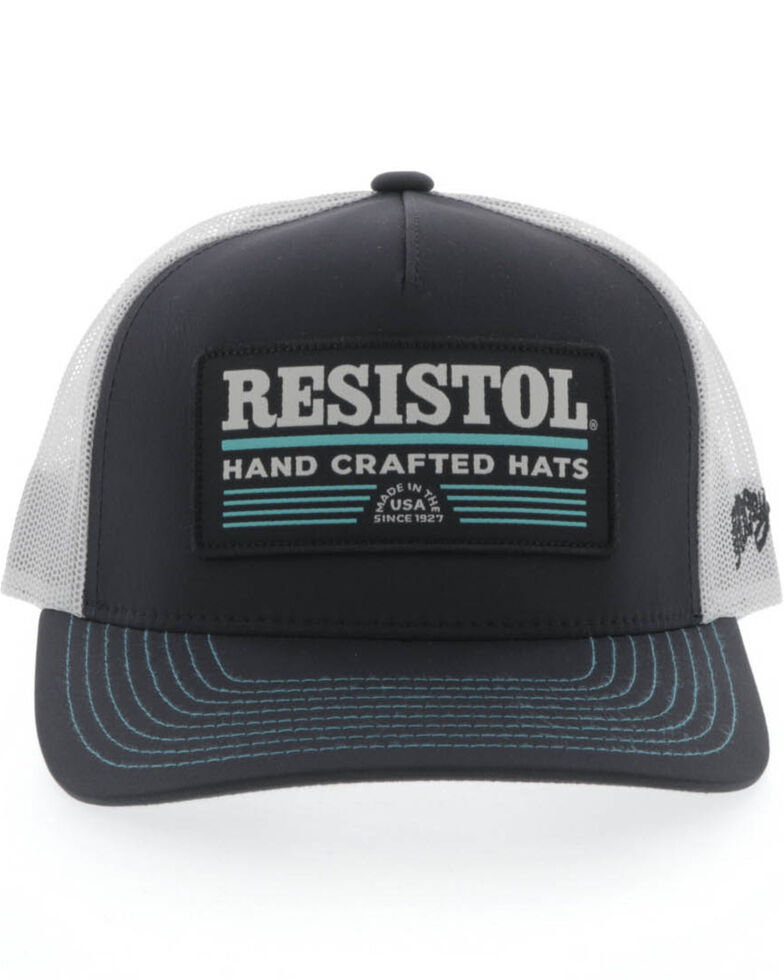 HOOey Men's Black & White Resistol Patch Mesh Cap , Black, hi-res