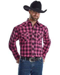 Wrangler Men's Tough Enough To Wear Pink Large Plaid Long Sleeve Western Shirt , Bright Pink, hi-res