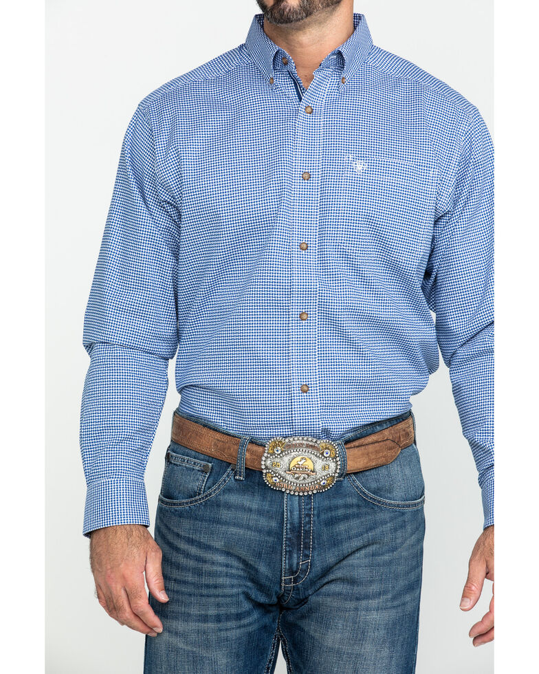 Ariat Men's Gonzales Stretch Check Plaid Long Sleeve Western Shirt - Big , Blue, hi-res