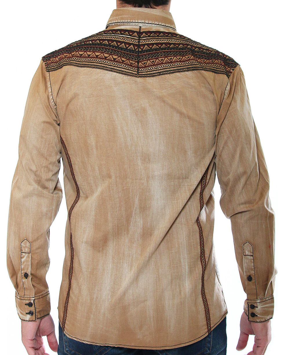 Austin Season Men's Tribal Embroidered Button Down Shirt, Brown, hi-res