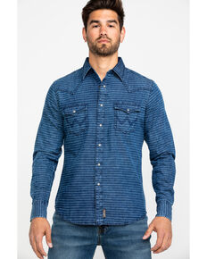 Wrangler Retro Men's Indigo Stripe Long Sleeve Western Shirt , Blue, hi-res