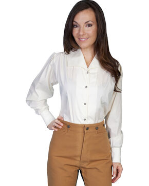 WahMaker by Scully Wide Lapel Blouse, Ivory, hi-res