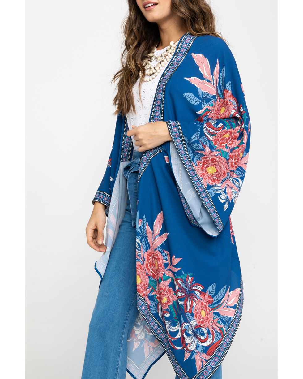 Flying Tomato Women's Big Floral Cascading Kimono Duster, Blue, hi-res