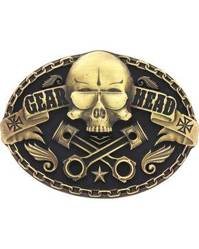 Montana Silversmiths Gear Head Skull Belt Buckle, Gold, hi-res