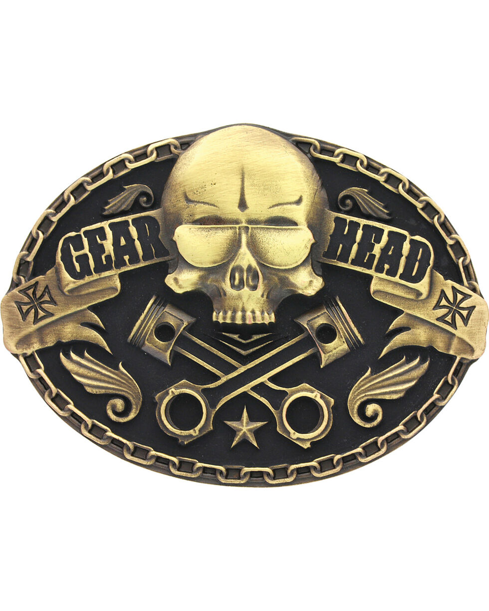 Montana Silversmiths Gear Head Skull Belt Buckle, Gold, hi-res