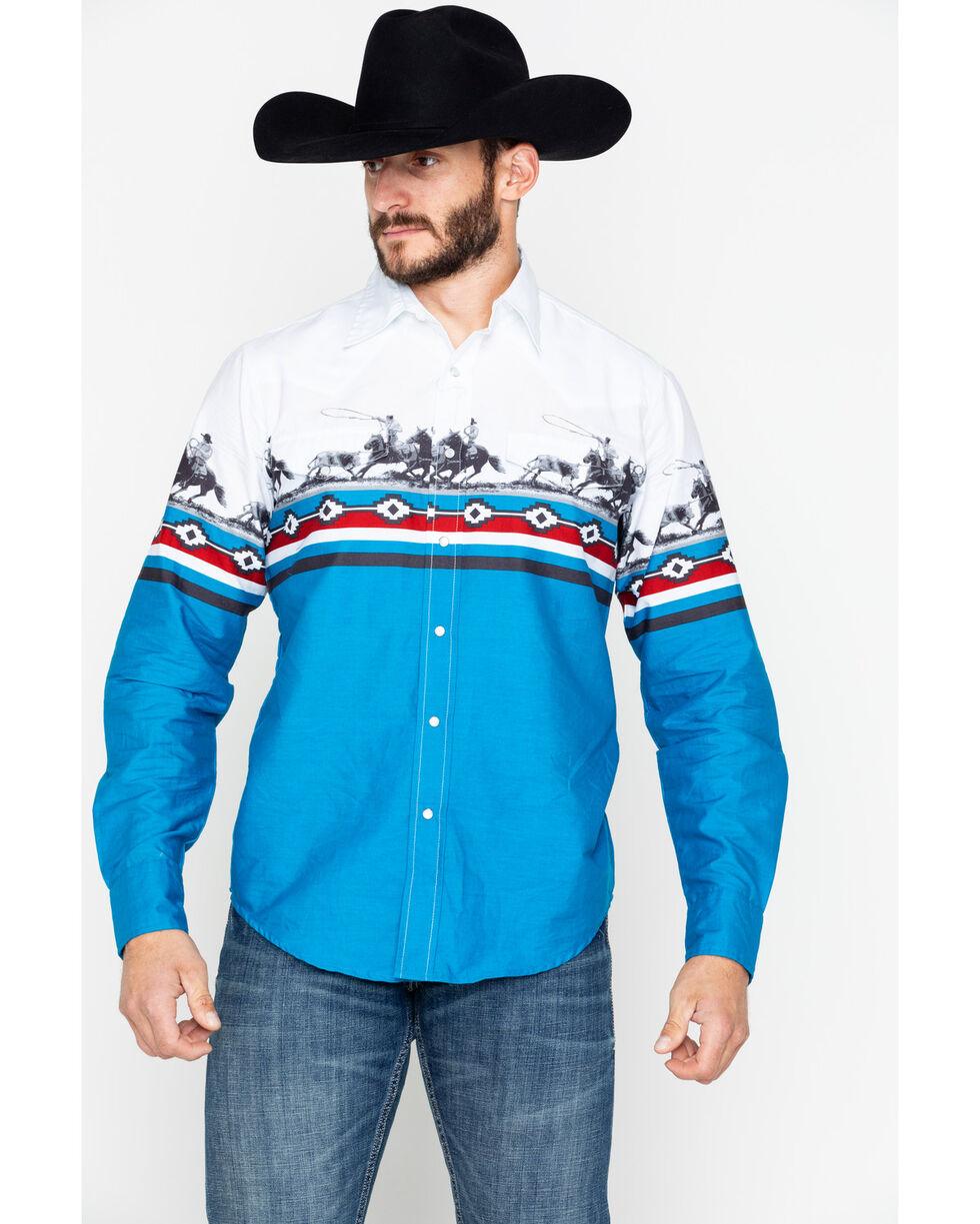 Roper Men's Border Horse Print Long Sleeve Western Shirt, White, hi-res
