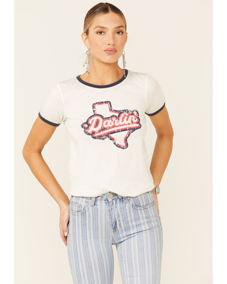 Rock & Roll Denim Women's Darlin Texas Graphic Ringer Tee , White, hi-res