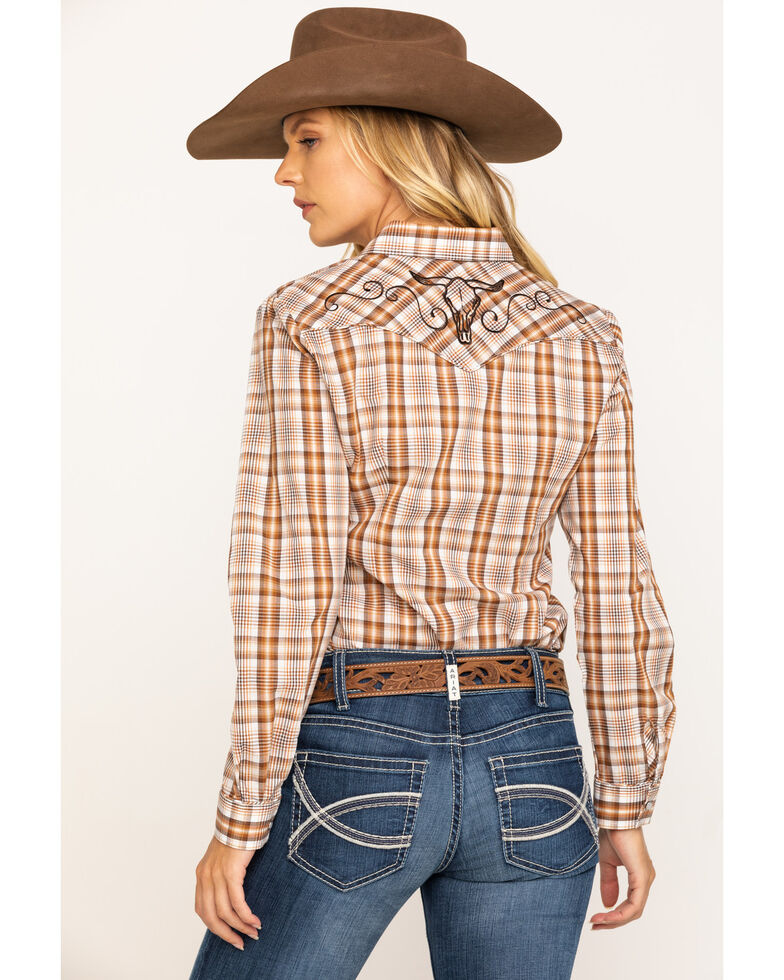 Karman Women's Brown Plaid Embroidered Long Sleeve Western Shirt , Brown, hi-res