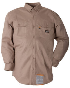 Berne Flame Resistant Button Down Work Shirt, Khaki, hi-res