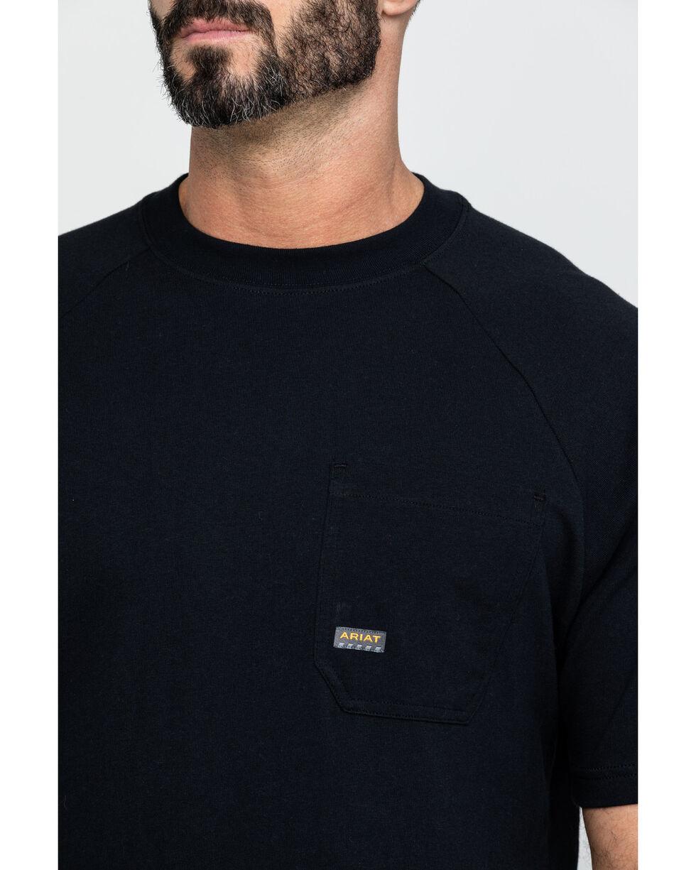 Ariat Men's Rebar Cotton Strong Short Sleeve Logo Crew T-Shirt, Black, hi-res