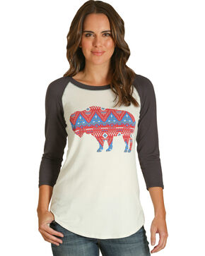 Wrangler Women's Navy Buffalo Baseball Tee , Navy, hi-res