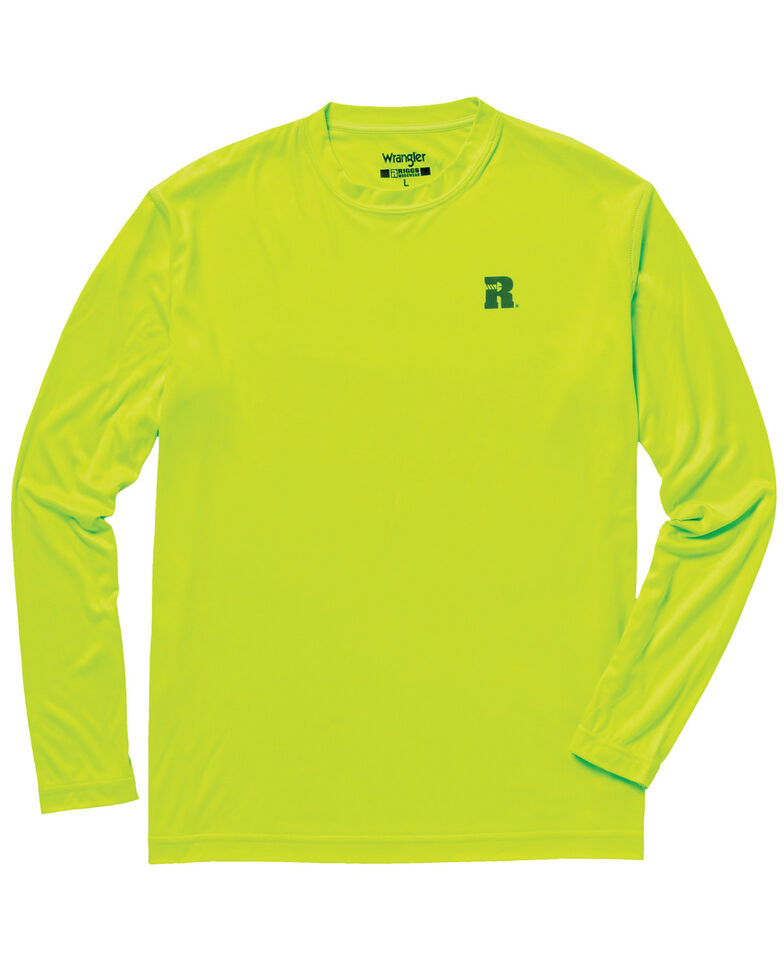 Wrangler Men's Riggs Crew Performance Long Sleeve T-Shirt, Bright Green, hi-res