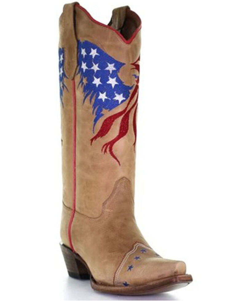 Circle G Women's Sand Eagle Flag Embroidery Western Boots - Snip Toe, Sand, hi-res