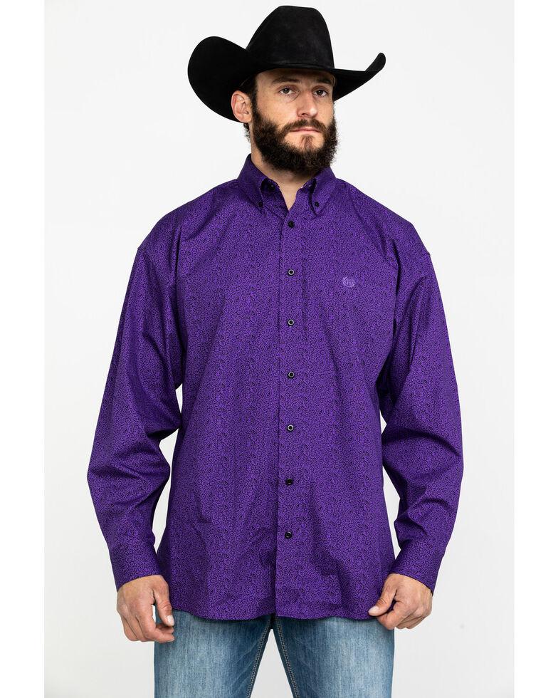 Panhandle Select Men's Poplin Paisley Print Long Sleeve Western Shirt , Purple, hi-res