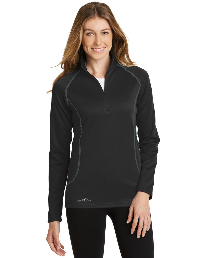 Eddie Bauer Women's Black 2X Smooth Fleece 1/2 Zip Base Layer - Plus, Black, hi-res