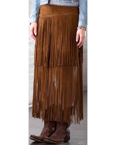 Ryan Michael Women's Fringe Leather Skirt, Cognac, hi-res