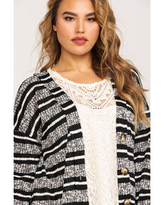 Eyeshadow Women's Striped Sweater Duster - Plus , Heather Grey, hi-res