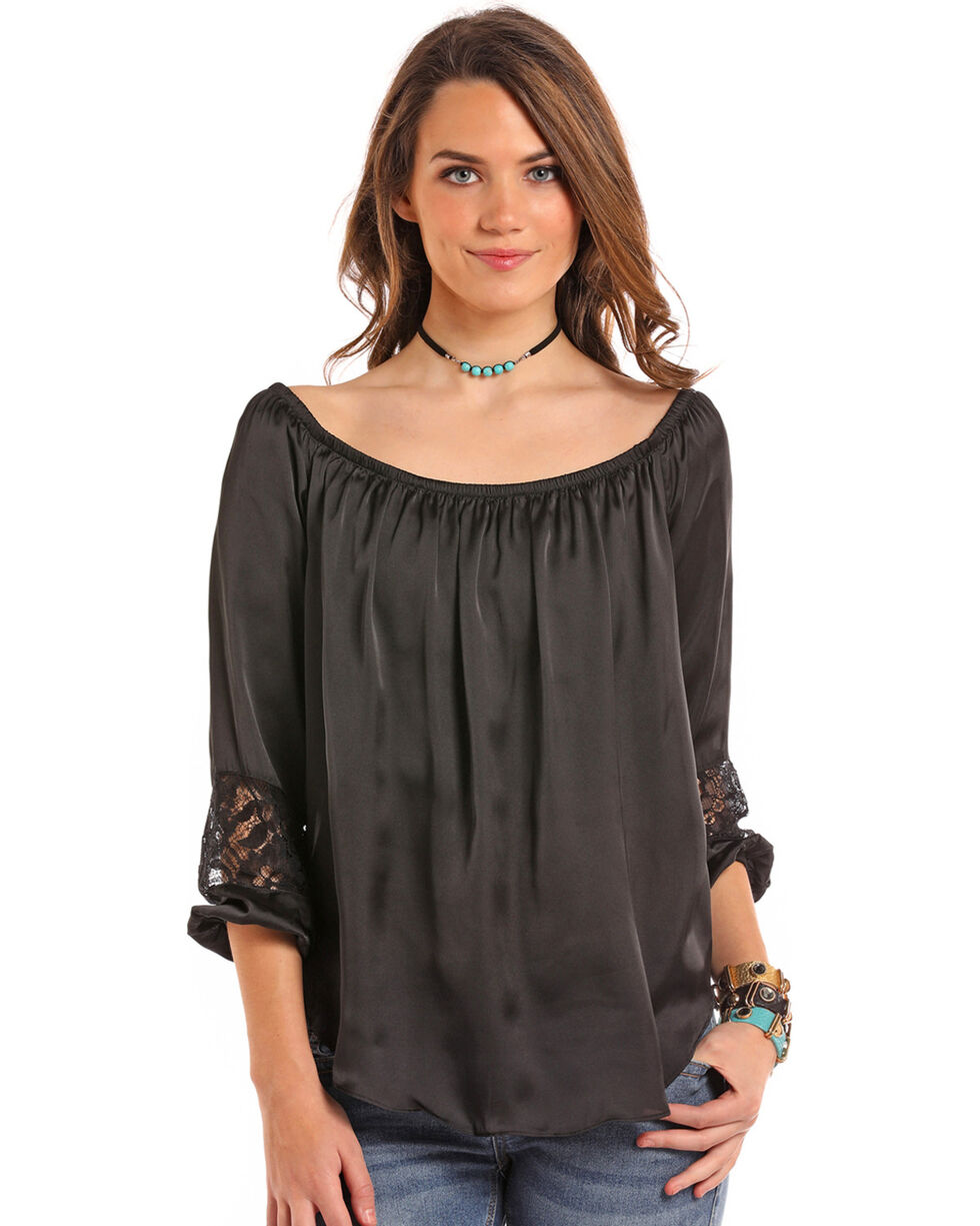 Panhandle Women's Black Satin Peasant Top, Black, hi-res