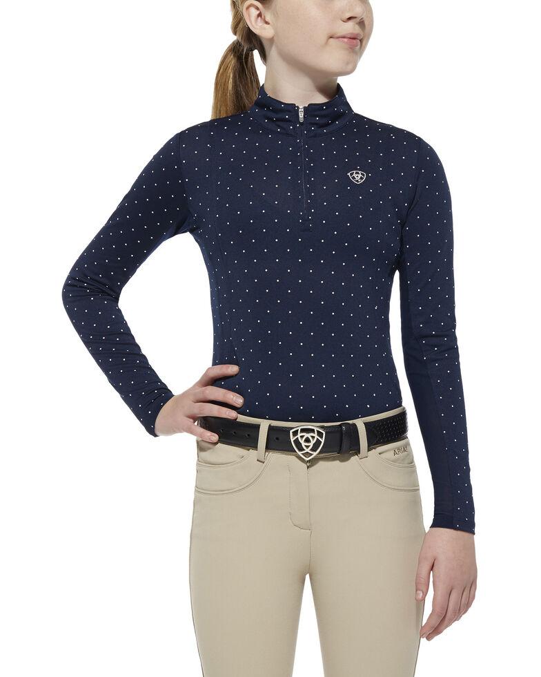 Ariat Girls' Navy Sunstopper 1/4 Zip Baselayer Pullover Top , Navy, hi-res