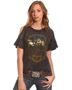 IOC Women's Moonshine Gold Foil Cold Shoulder Top, Black, hi-res