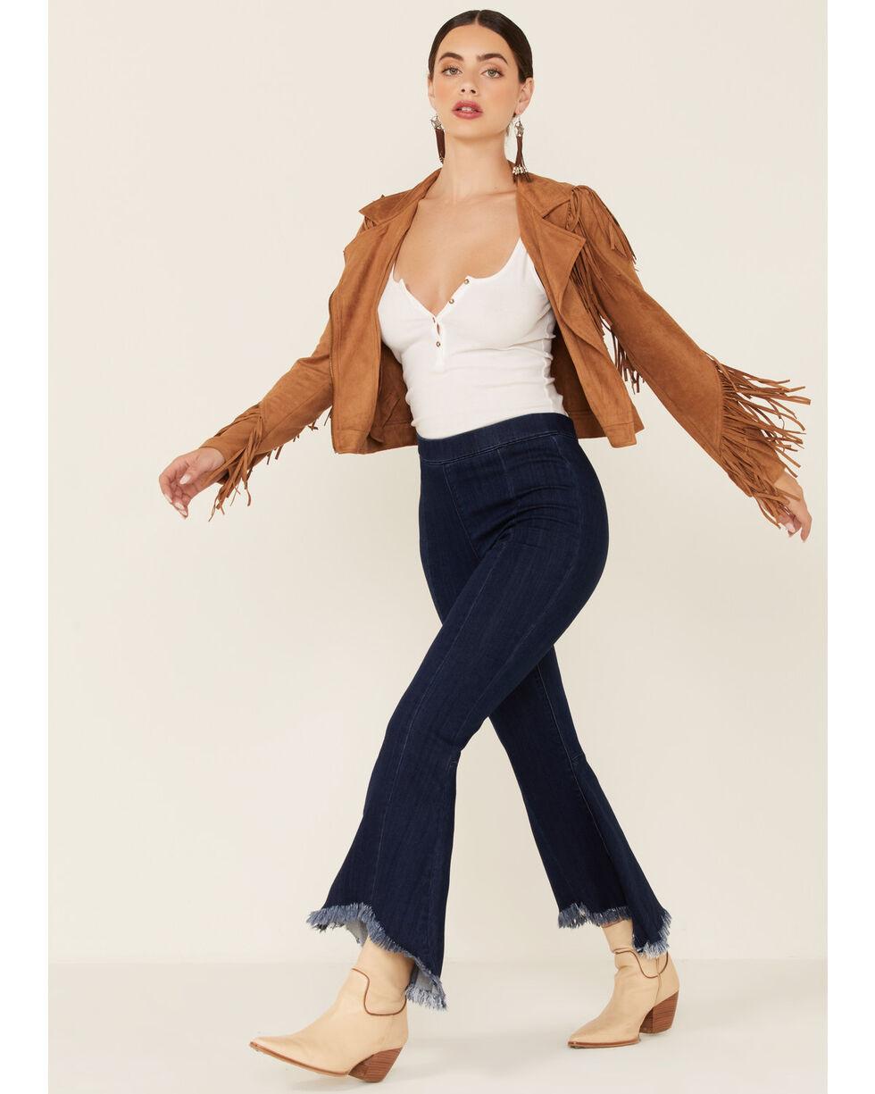 Flying Tomato Women's Zip-Up Fringe Jacket , Tan, hi-res