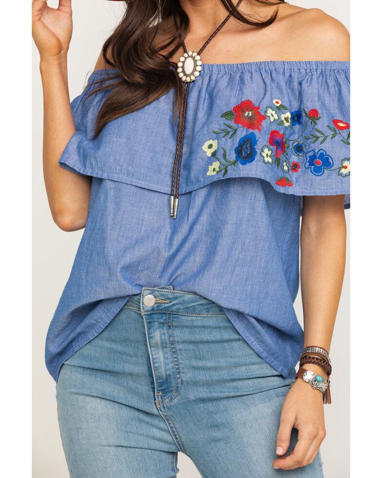 Five Star Women's Blue Floral Embroidered Off The Shoulder Top, Blue, hi-res