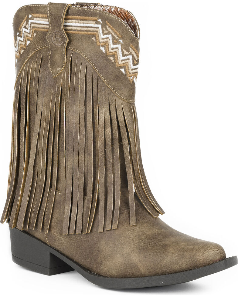 Roper Girls' Brown Fringed Western Boots - Pointed Toe , Brown, hi-res