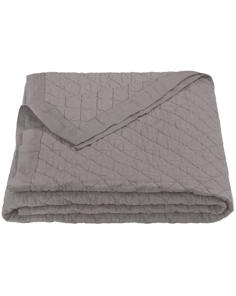HiEnd Accents Diamond Pattern Grey Linen Full/Queen Quilt, Grey, hi-res