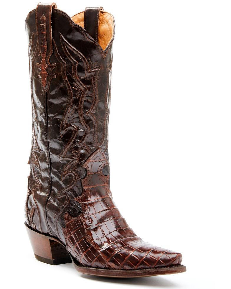 Dan Post Women's Exotic Crocodile Leather Western Boots - Snip Toe, Brown, hi-res