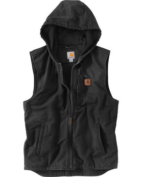 Carhartt Men's Black Knoxville Hooded Vest , Black, hi-res