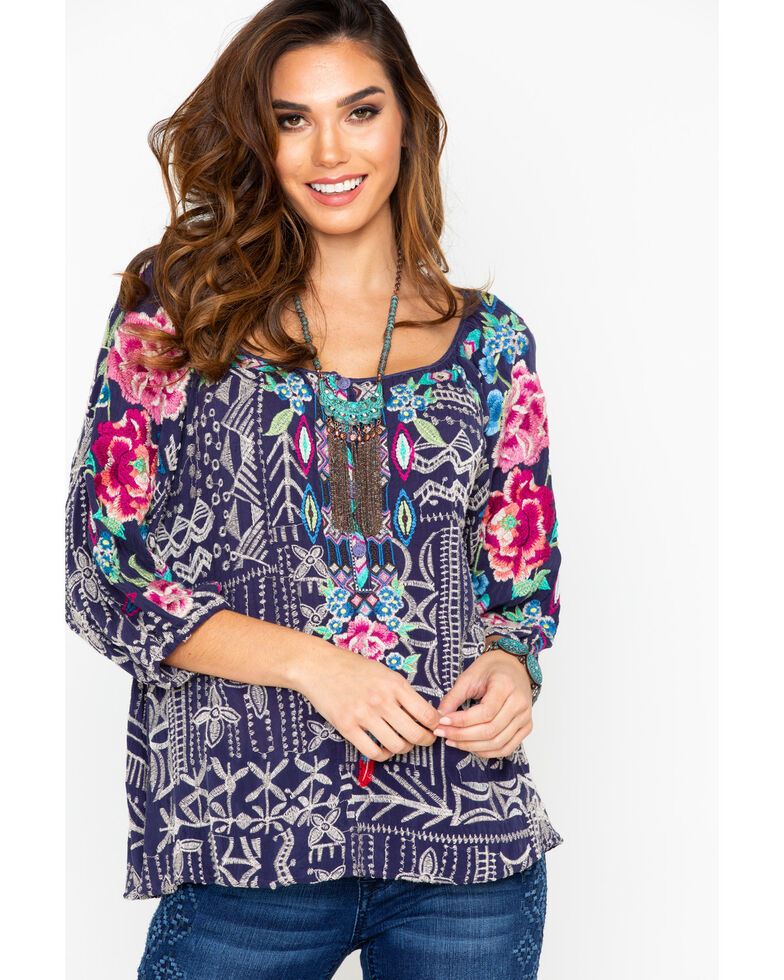 Johnny Was Women's Trista Blouse, Navy, hi-res